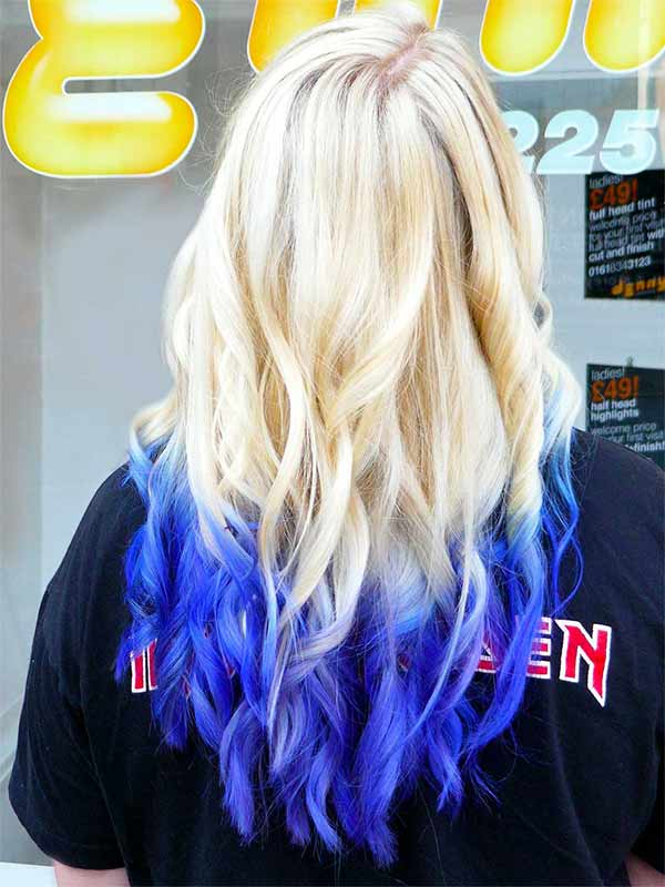 blue tint on the end of blonde long hair