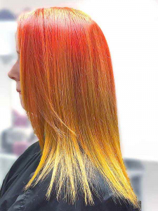 two tone bright orange hair