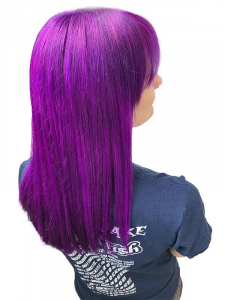 bright purple head picture with blue t shirt