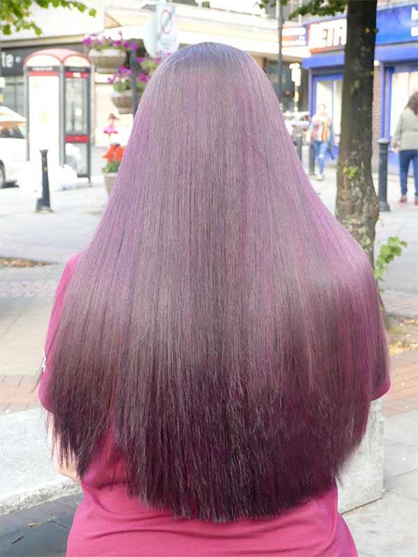 plum long hair shot