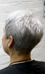 natural silver cropped cut with a short fringe