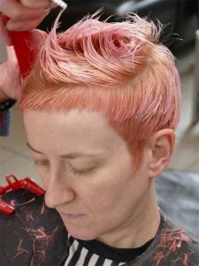 cut to suit- short peachey hair colour