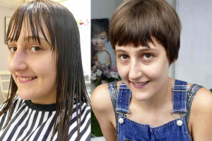 double picture girl new hair cut