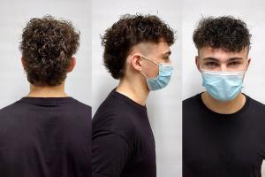 "alt=""lads hair perm wearing mask"""