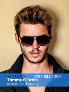 gents caramel highlight with sunglasses on