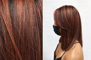 close up of copper highlights hair