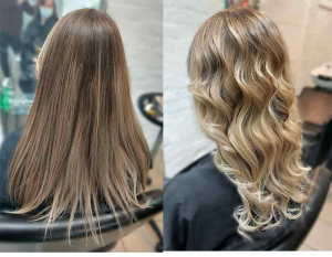 before and after blonde highlight hair colour
