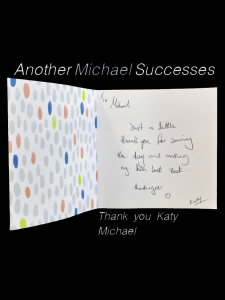 message in an open thank you card